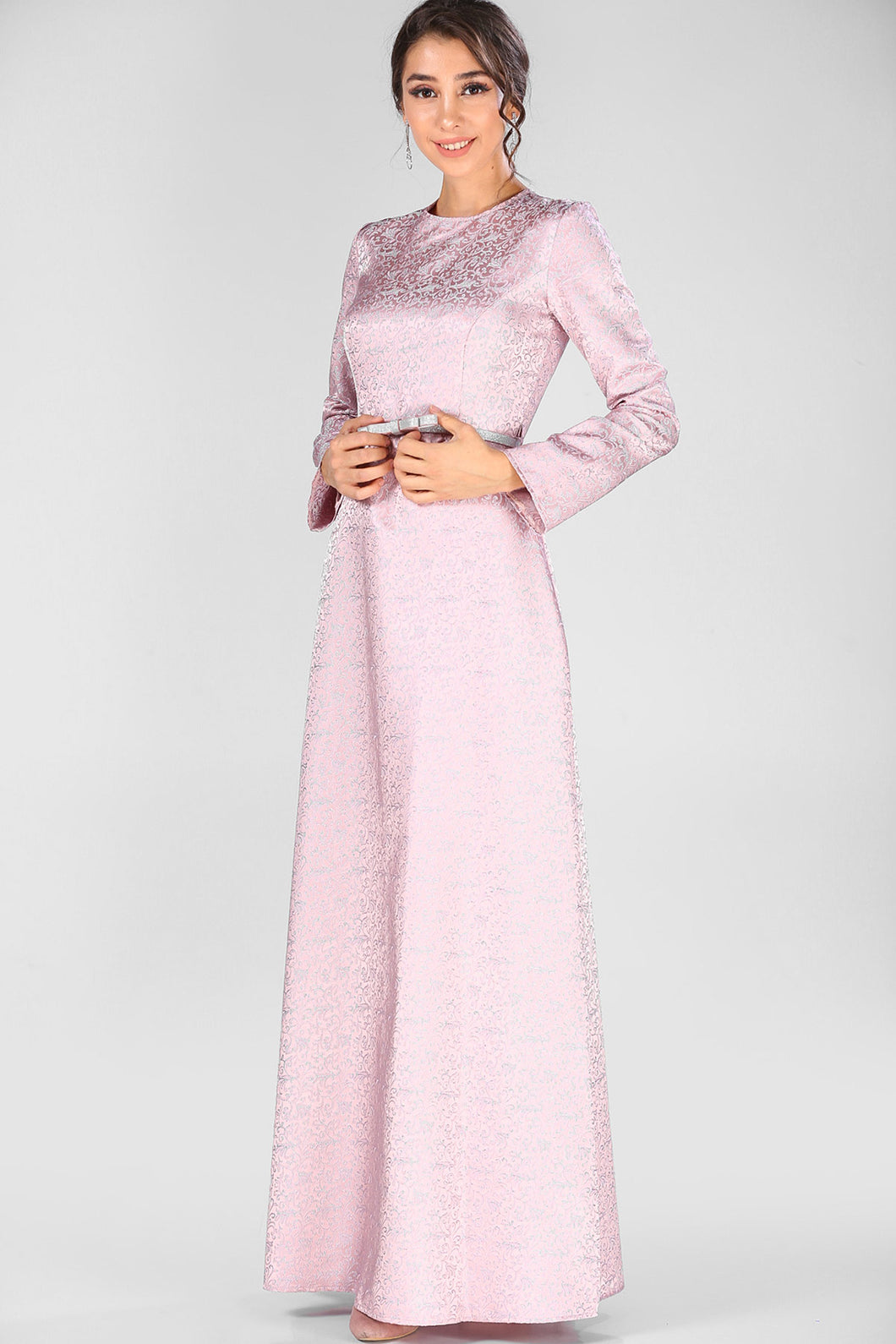 Belted Waist Dusty Rose Evening Gown