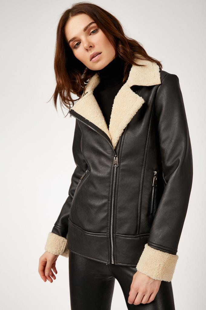 Women's Inner Furry Black Leather Coat
