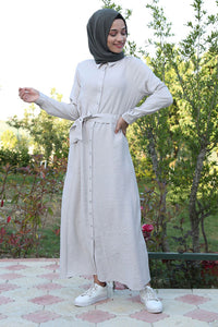 Women's Belted Button Modest Dress
