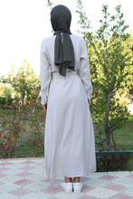 Load image into Gallery viewer, Women's Belted Button Modest Dress