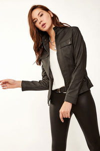 Women's Stand-up Collar Black Artificial Leather Coat