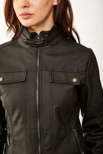 Load image into Gallery viewer, Women's Stand-up Collar Black Artificial Leather Coat