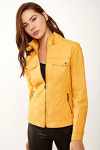 Load image into Gallery viewer, Women's Stand-up Collar Mustard Artificial Leather Coat