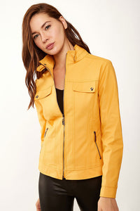 Women's Stand-up Collar Mustard Artificial Leather Coat