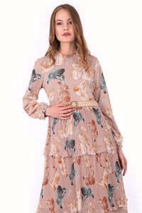 Women's Pleated Patterned Modest Long Dress
