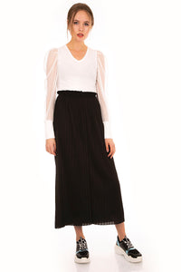 Women's Elastic Waist Pleated Black Midi Skirt