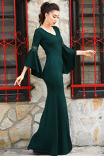 Load image into Gallery viewer, Women's Ruffle Sleeves Green Evening Dress