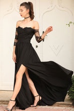 Load image into Gallery viewer, Women's Off Shoulders Black Evening Dress
