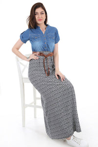 Women's Denim Top Patterned Dress