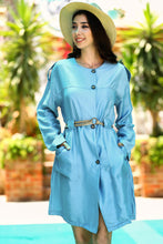 Load image into Gallery viewer, Women's Belted Baby Blue Dress