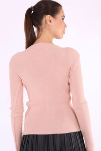 Women's V Neck Tricot Sweater