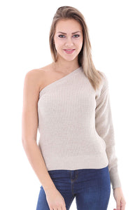 Women's One Shoulder Tricot Sweater