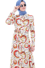 Load image into Gallery viewer, Women's Belted Button Patterned Dress