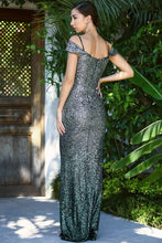 Load image into Gallery viewer, Women's Fish Model Sequin Dark Green Evening Dress
