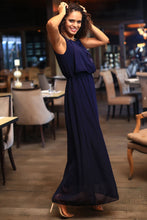 Load image into Gallery viewer, Women's Navy Blue Chiffon Evening Dress