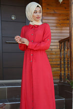 Load image into Gallery viewer, Women's Button Front Tie Waist Modest Dress