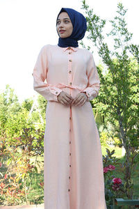 Women's Button Front Tie Waist Modest Dress