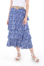 Load image into Gallery viewer, Women's Straw Belted Frill Patterned Blue Midi Skirt