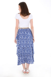 Women's Straw Belted Frill Patterned Blue Midi Skirt
