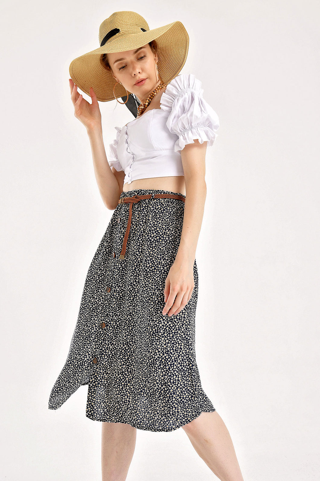 Women's Floral Pattern Viscose Midi Skirt