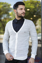 Load image into Gallery viewer, Men's Patterned Ecru Cardigan