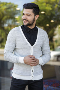 Men's Patterned Ecru Cardigan