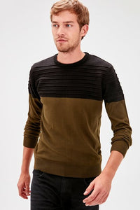 Men's Color Block Khaki Tricot Sweater