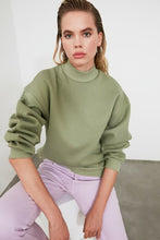Load image into Gallery viewer, Women's Stand-up Collar Mint Green Sweatshirt