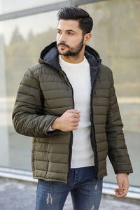 Men's Hooded Khaki Coat