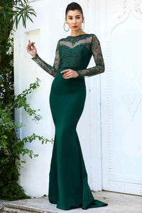 Women's Fish Model Lace Top Dark Green Evening Dress