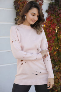 Women's Ripped Powder Rose Sweater