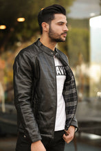Load image into Gallery viewer, Men's Crew Neck Black Leather Jacket