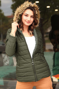 Women's Hooded Furry Khaki Blown Coat