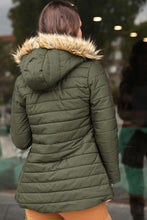 Load image into Gallery viewer, Women's Hooded Furry Khaki Blown Coat
