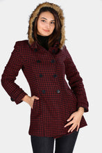 Load image into Gallery viewer, Women's Hooded Button Hound's Tooth Pattern Claret Red Coat