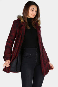 Women's Hooded Button Hound's Tooth Pattern Claret Red Coat