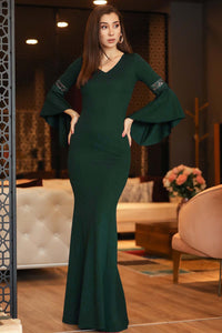 Women's Ruffle Sleeves Green Evening Dress