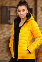 Load image into Gallery viewer, Women's Hooded Yellow Blown Coat