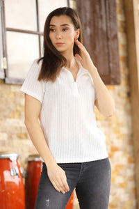Women's Ecru Rib Blouse