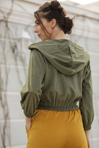 Women's Hooded Khaki Velvet Jacket