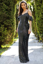 Load image into Gallery viewer, Women's Fish Model Sequin Black Long Evening Dress