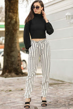 Load image into Gallery viewer, Women's Elastic Waist Striped Ecru Pants
