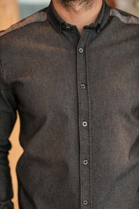 Men's Patterned Black Shirt