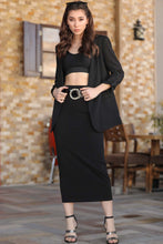 Load image into Gallery viewer, Women's Black Pencil Midi Skirt