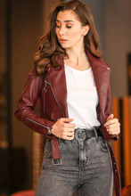Load image into Gallery viewer, Women's Zipped Claret Red Leather Jacket