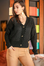 Load image into Gallery viewer, Women's Button Black Cardigan