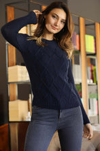 Load image into Gallery viewer, Women's Navy Blue Tricot Sweater