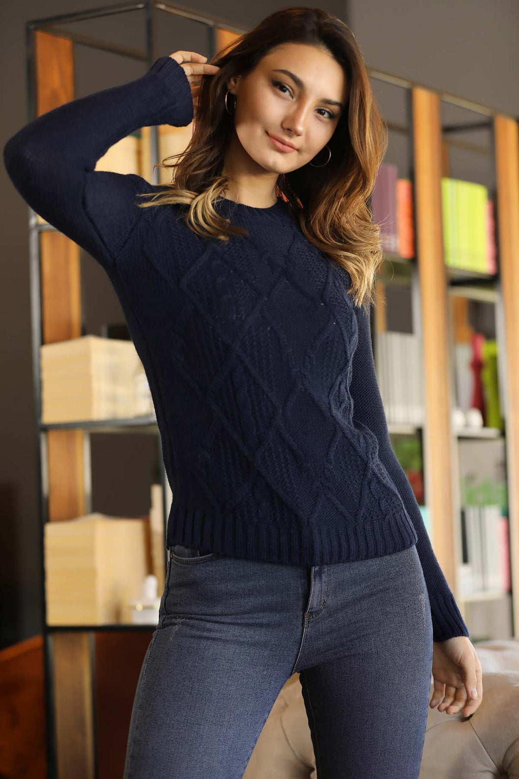 Women's Navy Blue Tricot Sweater