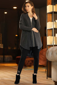 Women's Zipped Anthracite Coat