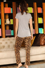 Load image into Gallery viewer, Women's Leopard Pattern Grey Pajama Set